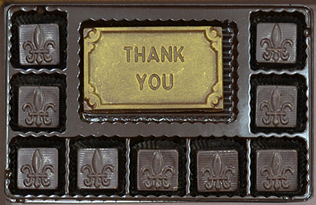 Thank You with 9 solid squares of assorted chocolate